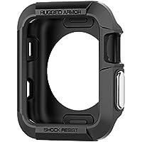 Spigen Rugged Armor - Funda Protector de pantalla para Apple Watch serie 1/2 de 42mm, color negro