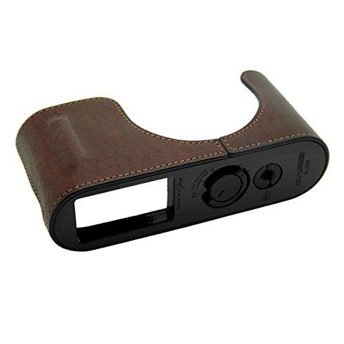GARIZ BLACK-LABEL Echtleder Designer Halb-Tasche für LEICA Q / Typ 116 (Kameratasche, Ledertasche, Tasche, Fototasche) mit gebürstetem, schwarzem Aluminiumboden und vielen funktionellen Details (BL-LCQBR) ...(powered by SIOCORE)