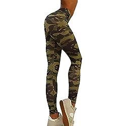 Conjunto de chándal de mujer Sannysis Tops y Pantalones deportivos de camuflaje (Pantalones, XL)