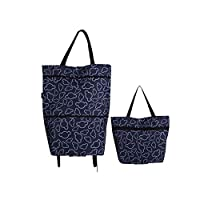 Whchiy Reusable Grocery Bags with Wheels Oxford Cloth Waterproof Trolley Bags for Go Shopping Travel (Navy Blue)