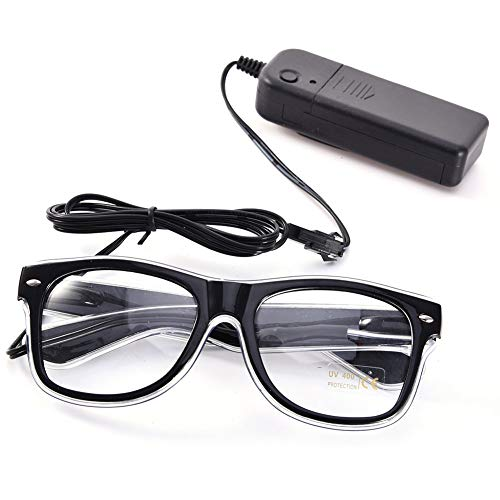 UTOVME EL Leuchtbrille Party Club LED Leuchten Brillen Partybrille Eyeglasses Nicht blendet mit Batterie Box - El Kabel Leuchten Kostüm