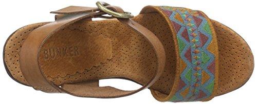 BUNKER Sandal Damen Offene Sandalen mit Blockabsatz Grün (Grass)