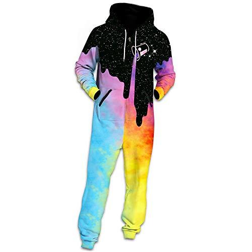 Herren Schädel Jumpsuit Jogger, Morbuy Unisex Herren Kapuzenpullover Strampelanzug 3D Printed Onepiece Winter Sweatshirt Männer Party Strampler Nachtwäsche Fitness Bekleidung (XL,Regenbogen) -