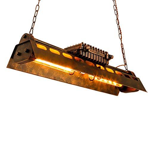Unbekannt Rostfarbe Rechteck Retro Industrie Schmiedeeisen Kronleuchter,Bar Café Restaurant Hotel Geschäft Pendelleuchte Hängeleuchte,E27 Flute Wolframlampe (einschließlich) -