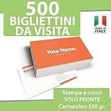 500 BIGLIETTI DA VISITA Bigliettini STAMPA solo FRONTE a COLORI personalizzati printerland.it