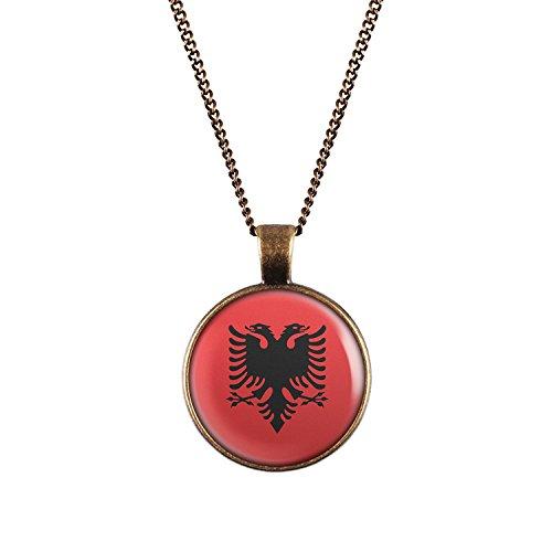 WeAreAwesome Albanien Flagge Halskette - Länderkette mit Fahne Anhänger Unisex Kette