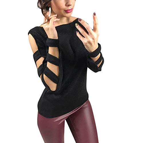 UFACE Frauen Langärmelige Hollowed Sweater Sexy Casual Strickhemd Cold  Shoulder Tops 816e978fc7