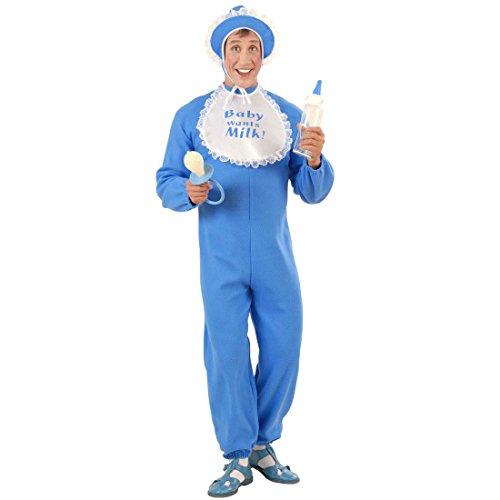 NET TOYS Männer Babystrampler blau Baby Kostüm blau XL 54/56 Babykostüm JGA Kostüm Junggesellenabschied