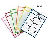 Yeelan Pack de 6 poches nettoyantes réutilisables Protecteur de feuille en plastique de couleur assortie pour travail d'étudiant et de bureau(6 couleurs, 6pcs, format A4)