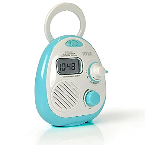 Pyle–Mini Wasserdicht Bluetooth Musik Dusche Wecker Radio Lautsprecher mit FM-Tuner