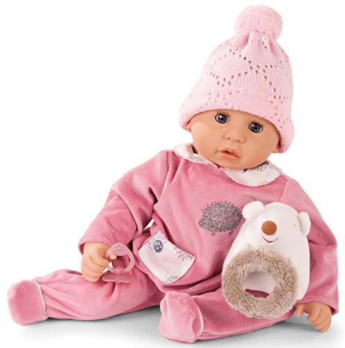 Götz 1961049 Cookie Igel Puppe - 48 cm große Babypuppe mit blauen Schlafaugen, ohne Haare und Einem Weichkörper - 5-teiliges Set - Körper C Kleidung