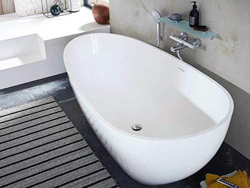 Freistehende Badewanne Mineralguss - oval weiß - inkl. Ablaufventil & Siphon - 185x85 - M
