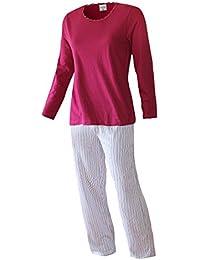 Pyjama Damen lang Damen Schlafanzug lang aus 100% Baumwolle