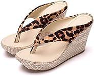 LJLLINGA Crystal Queen Fashion Summer Style Women Sandals High Heels Flip Flops Beach Wedge Sandals Leopard Pr