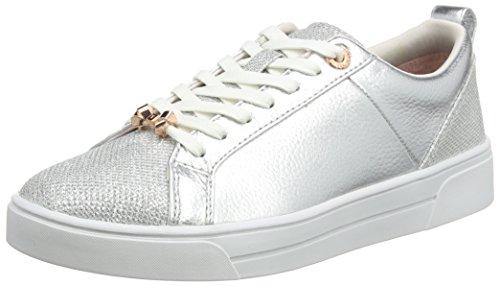 Ted Baker Damen Kulei Lthr Af Silver Lurex Sneaker, Silber (Silver), 41 EU (Toe Satin Open Heels Pump)