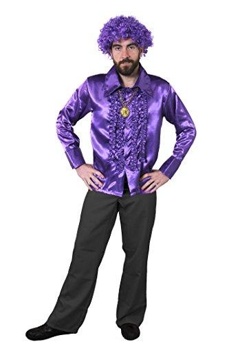 ILOVEFANCYDRESS 1960S KOSTÜM Disco Hippie Set Verkleidung=LILA RÜSCHEN Hemd+Gold FARBENDEM Medallion+LILA Afro PERÜCKE=Samstag Nacht Retro - 1960 Disco Kostüm