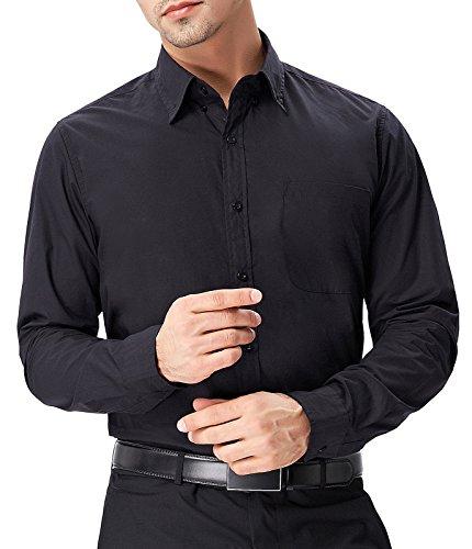Paul Jones Herren Hemd Langarm Slim Fit Business Hemd Freizeit Hemd PJ0051 PJ56(Schwarz)