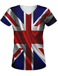 Snoogg British Flag Wallpaper Womens Casual V-Neck All Over Printed T Shirts Tees