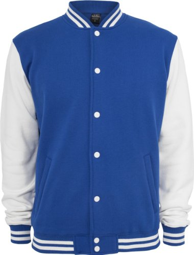 URBAN CLASSICS 2-tone College Sweatjacket, royal/white Blau/Weiss