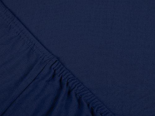 npluseins klassisches Jersey Spannbetttuch - erhältlich in 34 modernen Farben und 6 verschiedenen Größen - 100% Baumwolle, 70 x 140 cm, navyblau - 4