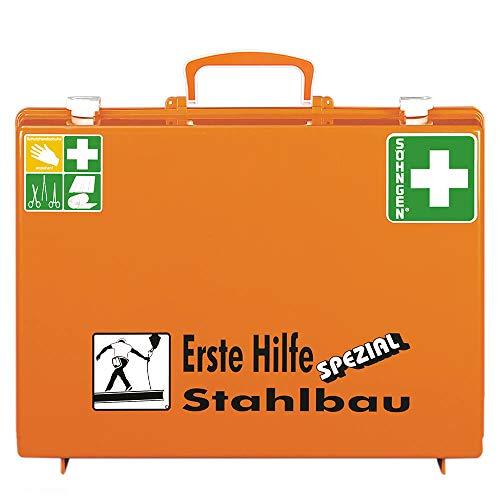 SÖHNGEN 0360118 Erste-Hilfe-Koffer Spezial Stahlbau, mit Wandhalterung, orange, ASR A4.3/DIN 13157 aus Kunststoff