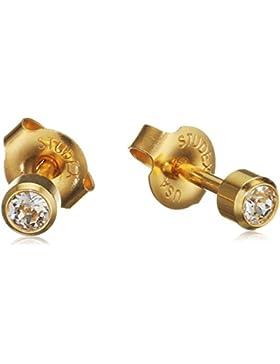 MTS Unisex-Ohrstecker Edelstahl teilvergoldet Zirkonia weiß Brillantschliff - 318204