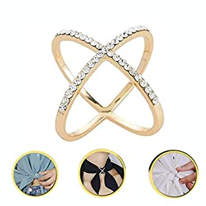 2 Pcs Elegant Multi-functional Scarf Buckle Ring Scarf Ring Inlaid Rhinestone Brooch