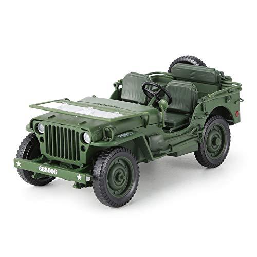 Sen alloy 1:18 jeep military truck model apertura cofano pannelli per rivelare il motore armygreen