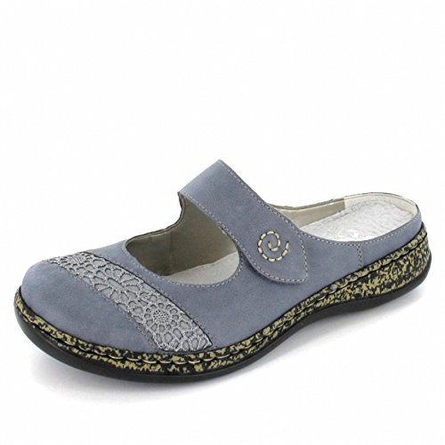 Rieker Damen Clogs Blau, Schuhgröße:EUR 40