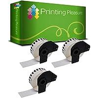 3x Endlos-Etiketten kompatibel für Brother DK-22214 12mm x 30.48m P-Touch QL-500 500A 500BW 500BS 550 560 560VP 570 580 580N 650TD 700 710W 720NW 1050 1050N 1060N, Thermopapier mit Kunststoffhalter