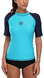 Attraco Damen Rash-Guard UV Shirts Kurzarm Surf Shirt Lycra Shirt Oberteil UV Shutz 50+ Blau S