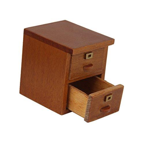 Scala 1/12 Mobili Per Casa Delle Bambole Miniatura, Armadio Con 2 Cassetti In Legno