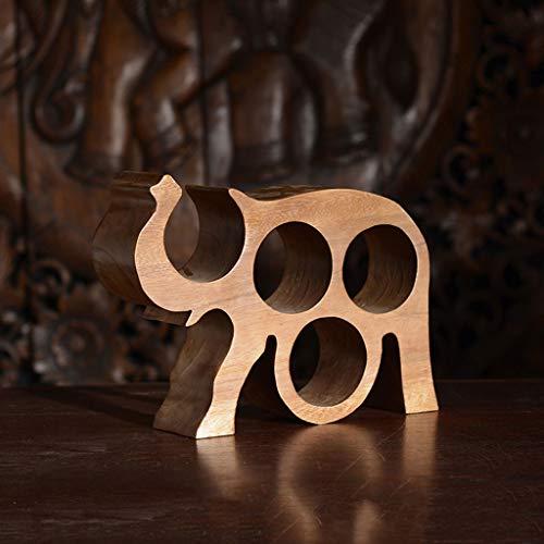 Artigianato in Legno massello Ornamenti cremagliera per l\'elefante Caratteristiche del Legno Intaglio Creativo Cremagliera del Vino
