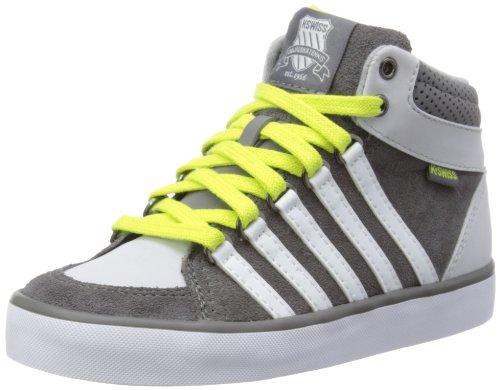 K-Swiss Jungen Gowmet II Mid Vnz Hohe Hausschuhe, Carbon/Gull Gray/White/Optic Yellow, 37 EU (Jungen Kinder Tennis Schuhe)