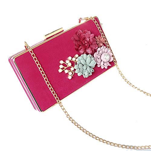 sche, Clutch Blumen Dekor Prom Hochzeit Geldbörse Braut PU Leder Handtasche Party Taschen,Pink-18.5cm*3.5cm*10.5cm ()