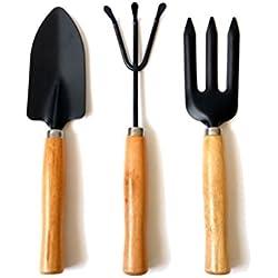 OUNONA Garten-Werkzeug-Set aus Edelstahl mit Gabel Trowel und in der Technik mit Hartholz Griffe, 3Stück