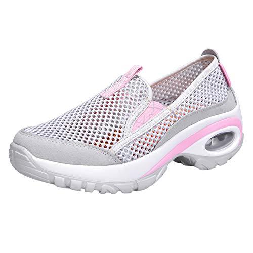 Fenverk Damen Laufschuhe Atmungsaktiv Turnschuhe SchnüRer Sportschuhe Sneaker Sneakers Bequem Air Leichte HöHe ErhöHen Mesh Socks Slip On Outdoor Walking Schuhe(Grau,38 EU) Air-mesh-liner