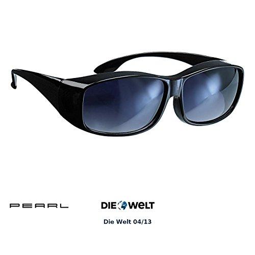 PEARL Unisex- Erwachsene Überziehbrille: Überzieh-Sonnenbrille Day Vision für Brillenträger, UV 380 (Übersonnenbrille), Schwarz, NC-1414