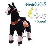 Schwarz Pferd auf Rädern Ponycycle Small mit Soundmodul