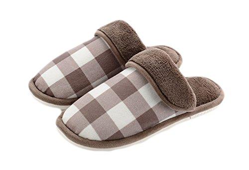 Auspicious beginning Coppie adulti coperta pattini chiusi delle dita dei piedini Pantofola calda del panno morbido della camera da letto Marrone