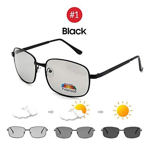 Driving Selection Rechteck Photochrom Polarisierte Männer Sonnenbrille Frauen Auto Fahren Sicher Polarisierende Männliche Sonnenbrille (Lenses Color : 1 Black)