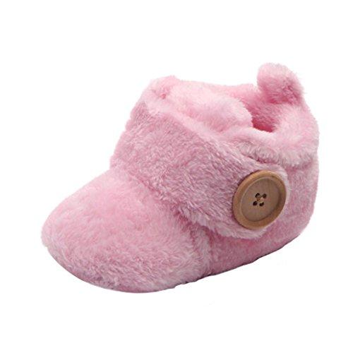 Chaussures Bébé ,Manadlian Chaussures de bébé Round Toe Flats Soft Slippers Chaussures (6-9 Mois, Rose)