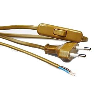 Zuleitungskabel zweiadrig - 2 m lang - mit Zwischenschalter - für Kunststofffassungen (Gold)