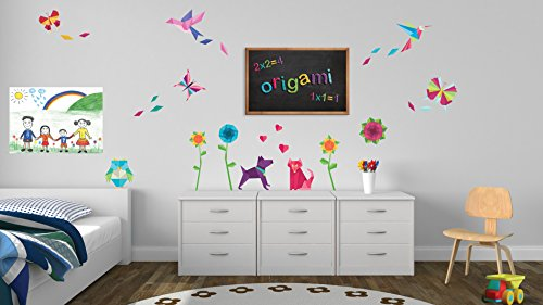 pared-pegatinas-decor-origami-color-raspberry-bano-childs-dormitorio-sala-de-ninos-pegatinas-windows