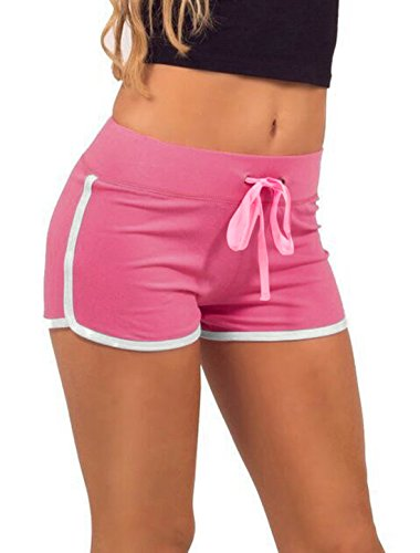 Femme Taille Élastique Cordon Tube Shorts De Course Fuchsia