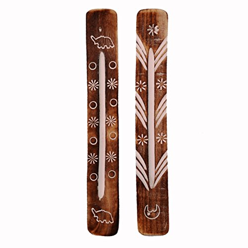 Purpledip Wooden Incense Stick Holder Agarbatti Stand (Set Of 2): Ash Catcher, Hand Carved With Nature's Elements (11055)  available at amazon for Rs.179