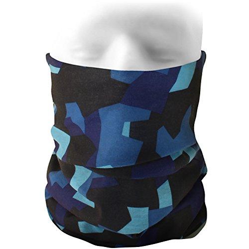 CampTeck Multifunktion Nahtlos Bandana Kopftuch Maske Balaclava Stirnband für Motorradfahren, Wandern, Reiten, Radfahren und Andere Outdoor Aktivitäten - Blau Camo (Herren Camo Blau)