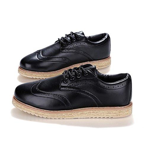 XiaoYouYu Classique Oxford élégantes Brogue Lacets Chaussures de ville Homme Noir