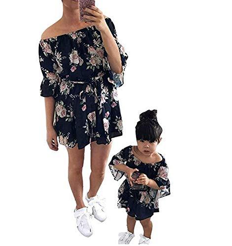Loalirando Schönes Mutter Tochter Blumenmuster Kleider Sommer Matching Outfits Familien Kleidung Prinzessin Kleid (2-3 Y, ()