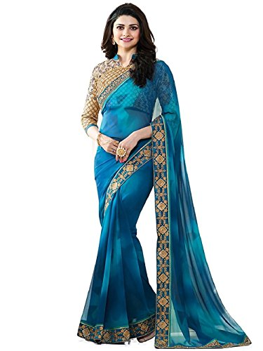 Shadow Export Women's Multi Colored Cotton Saree With UnstitchedBlouse Piece(Multi_Color) (Blue 1498)